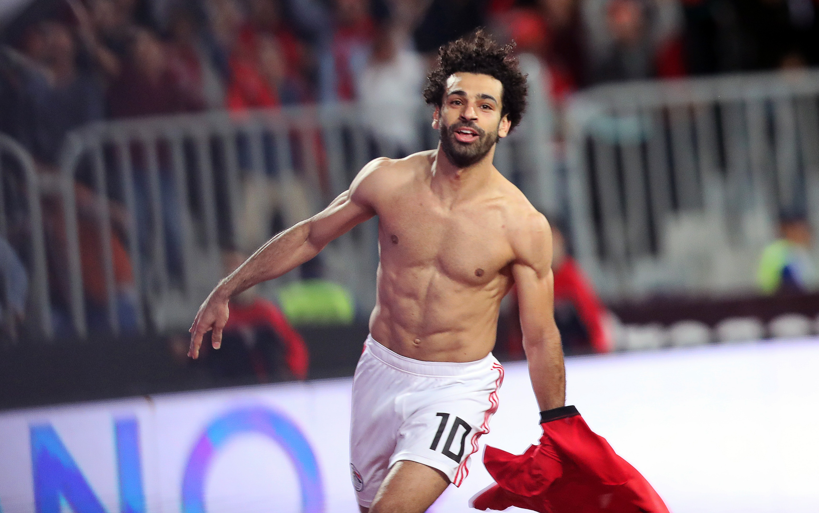 Egypt's Mohamed Salah celebrates after scoring a goal