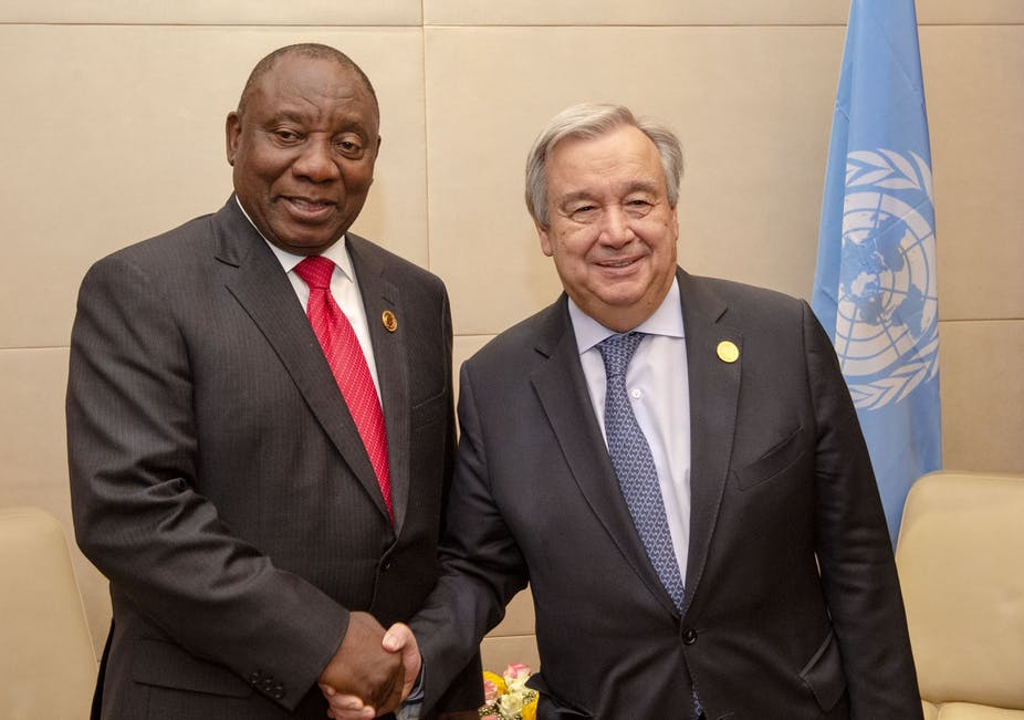 South African President Cyril Ramaphosa with United Nations Secretary General António Guterres.